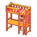 Letto rialzato con scrivania (Arancio, Righe rosse)