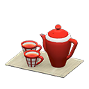 Set da tè (Rosso, Grigio)