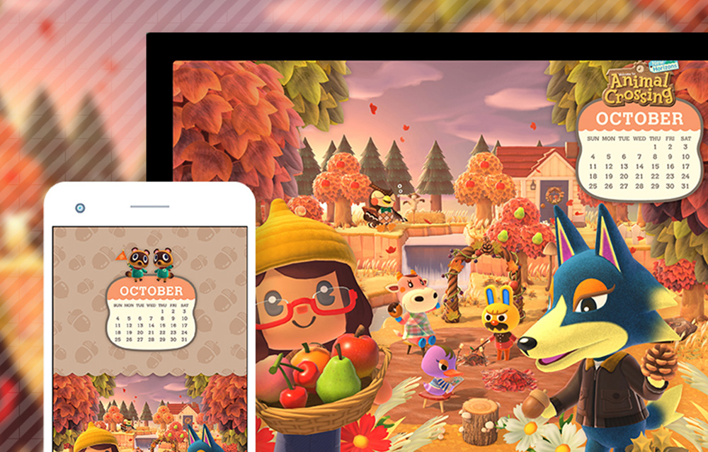 MyNintendo offre il set di sfondi del calendario di ottobre di Animal Crossing: New Horizons!