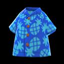 Camicia aloha con ananas (Blu)