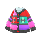 Cardigan multicolore (Rosso)