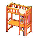 Letto rialzato con scrivania (Arancio)