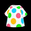 Maglietta a pois colorati (Bianco)