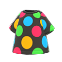 Maglietta a pois colorati (Nero)