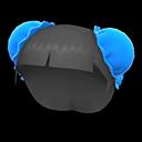 Parrucca con chignon (Blu)
