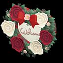 Targa da porta sposini (Rosso e bianco, Rosa)